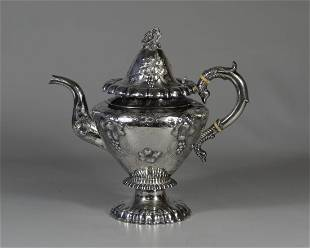 American coin silver repousse teapot bird head handle