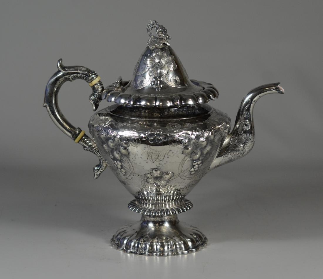 American coin silver repousse teapot, bird head handle - 2