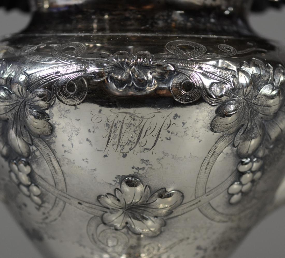American coin silver repousse teapot, bird head handle - 3