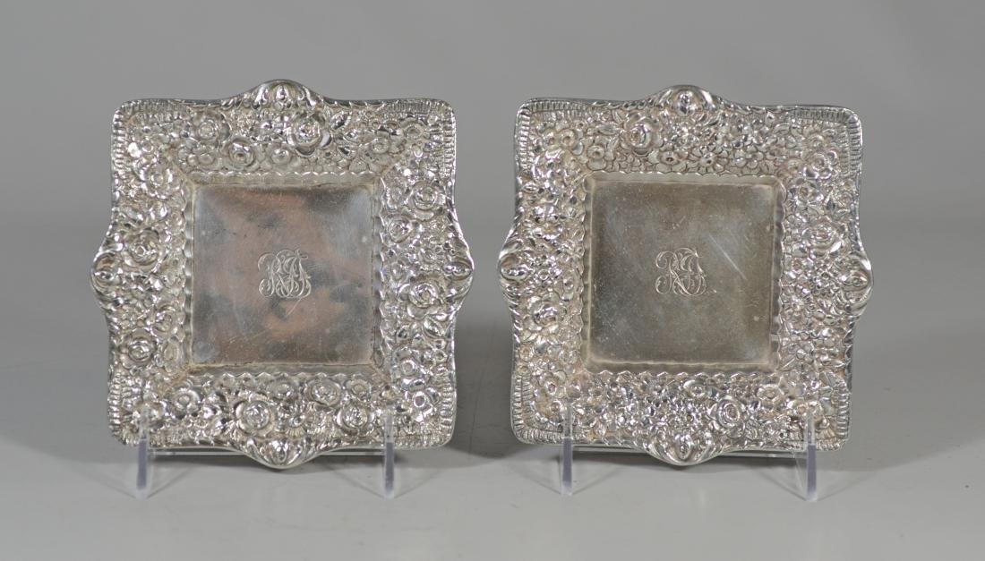 Pr Tiffany & Co sterling silver floral repousse bowls