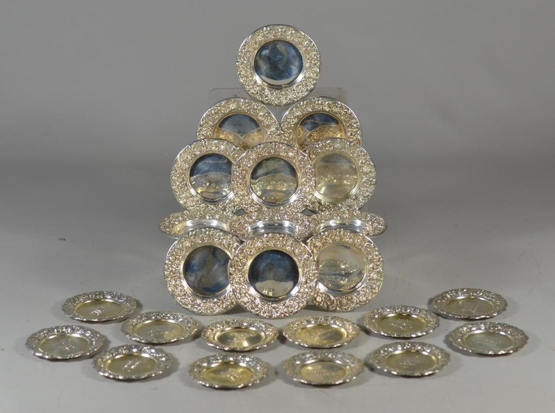 (12+12) repousse border sterling silver butter pats