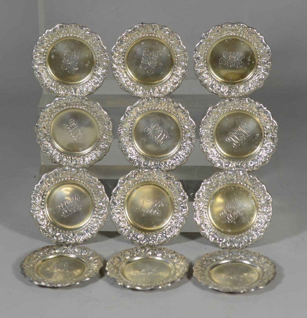 (12+12) repousse border sterling silver butter pats - 2