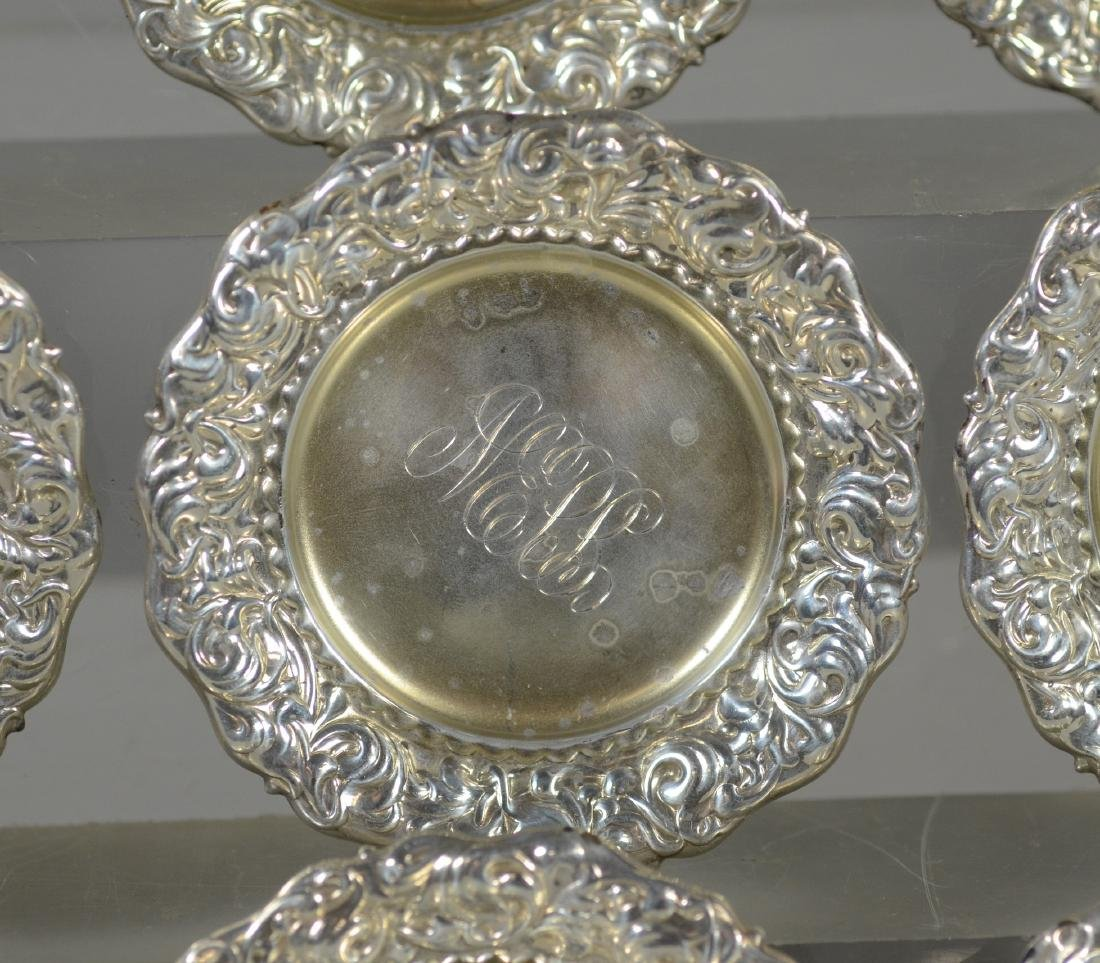 (12+12) repousse border sterling silver butter pats - 3