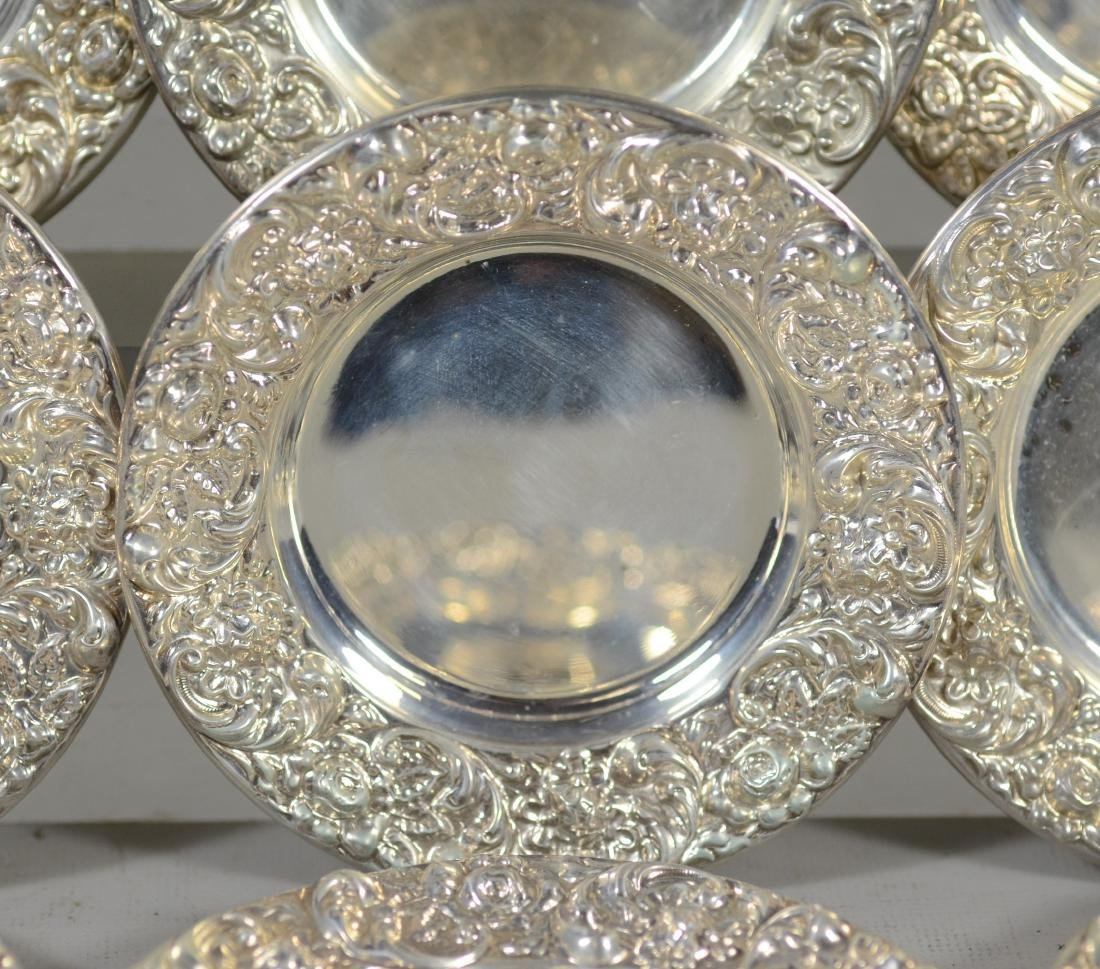 (12+12) repousse border sterling silver butter pats - 6