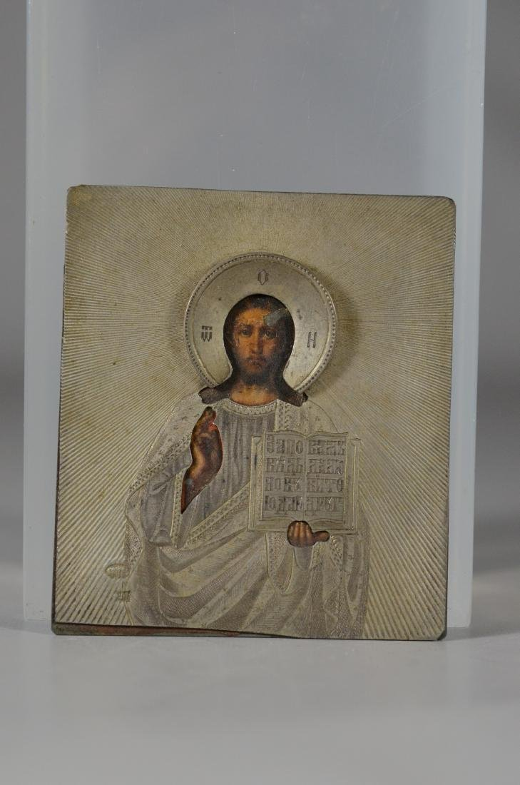 Silver Russian Icon depicting Christ, Moscow - 5
