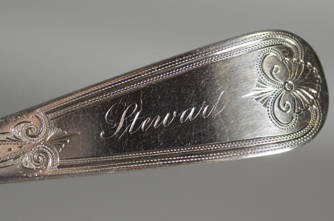 Engraved coin silver berry spoon, George B Sharp, KY - 6