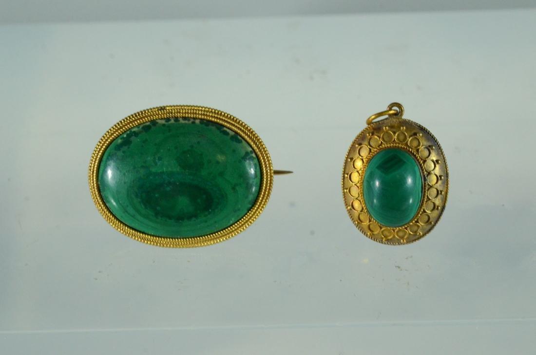 Oval YG malachite cabochon pin & Jade Victorian Pendant
