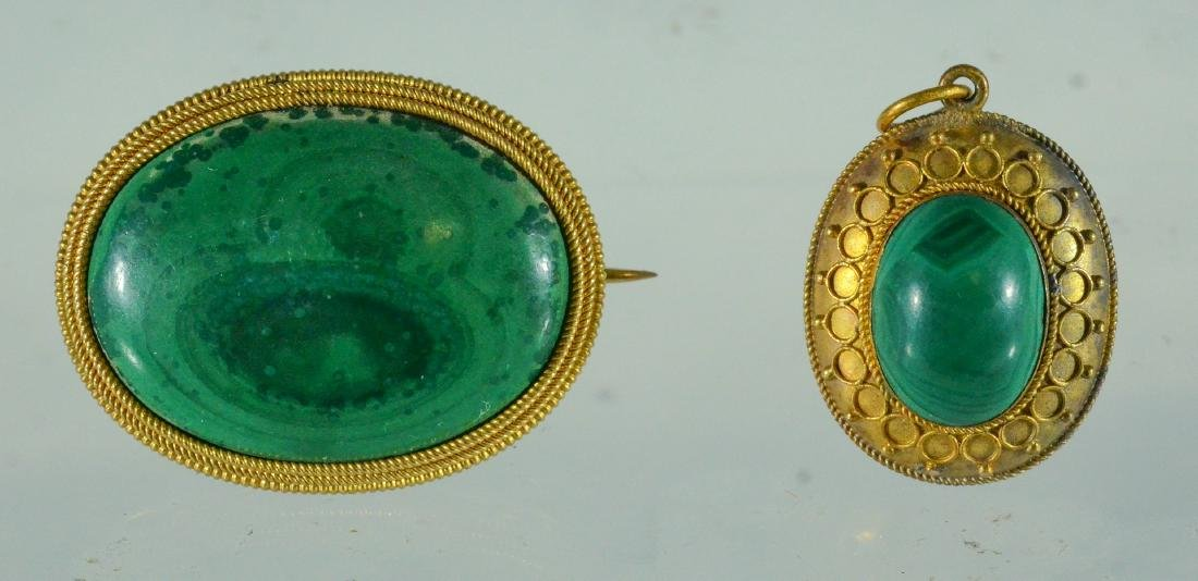 Oval YG malachite cabochon pin & Jade Victorian Pendant - 2