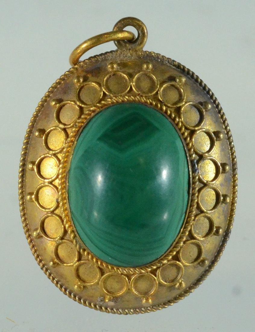 Oval YG malachite cabochon pin & Jade Victorian Pendant - 3