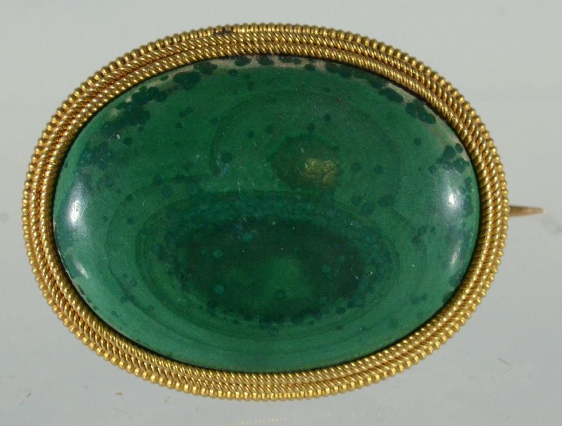 Oval YG malachite cabochon pin & Jade Victorian Pendant - 5