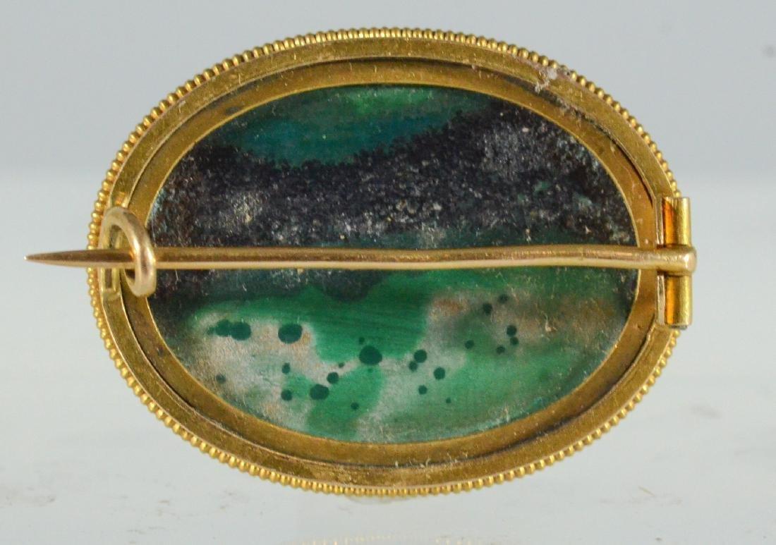 Oval YG malachite cabochon pin & Jade Victorian Pendant - 6