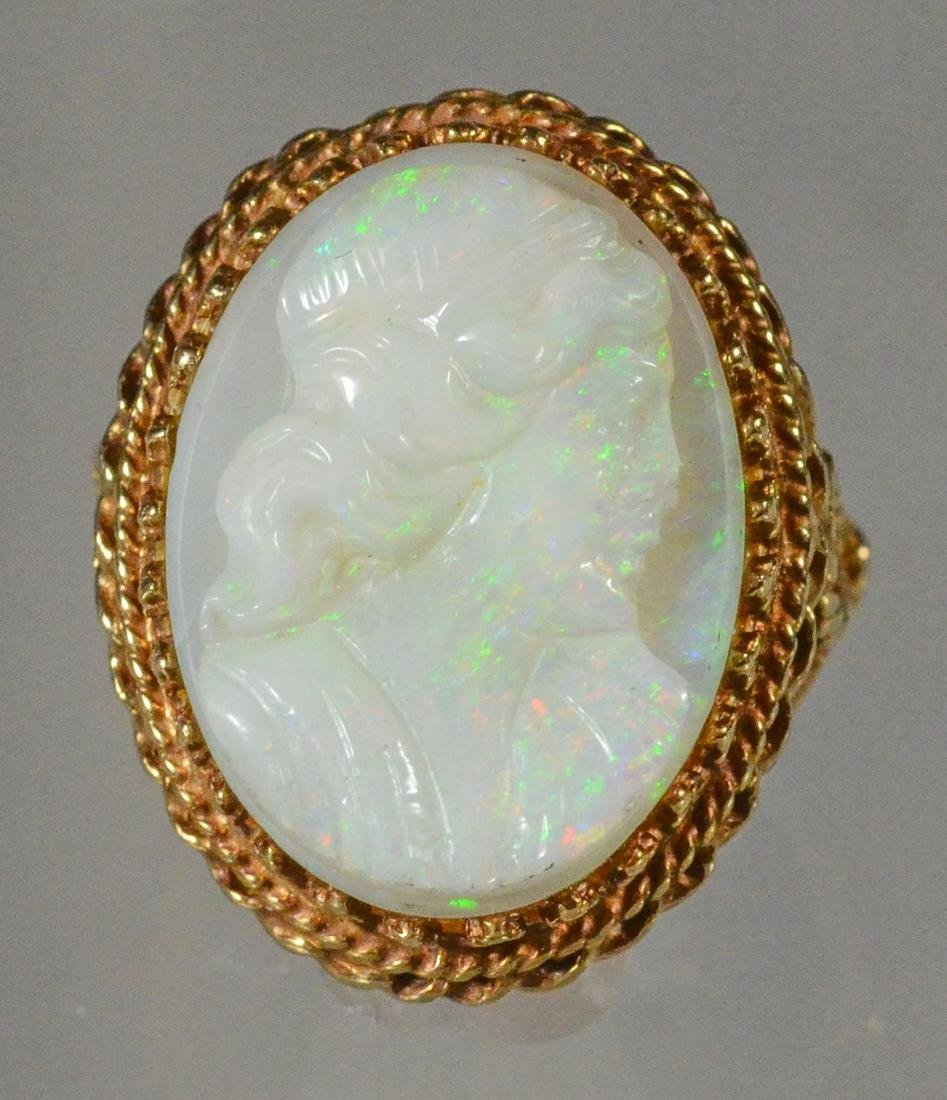 14K YG carved opal cameo ring, size 6 1/4