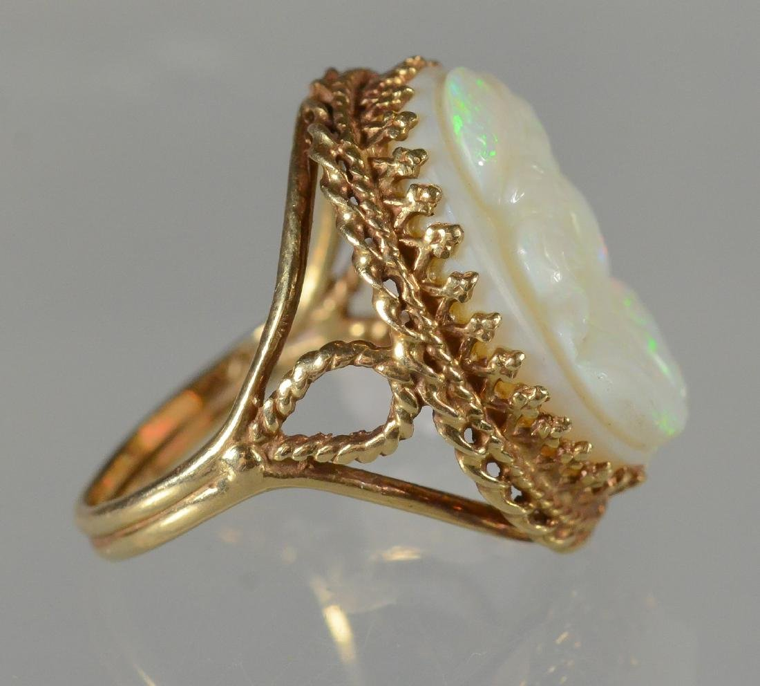 14K YG carved opal cameo ring, size 6 1/4 - 2