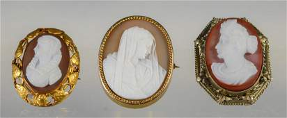 3 oval carved shell cameo portrait pins