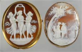 (2) unmarked YG oval shell carved cameo pins