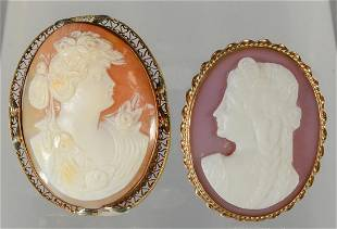 2 oval shell carved cameo pins one stamped 14K