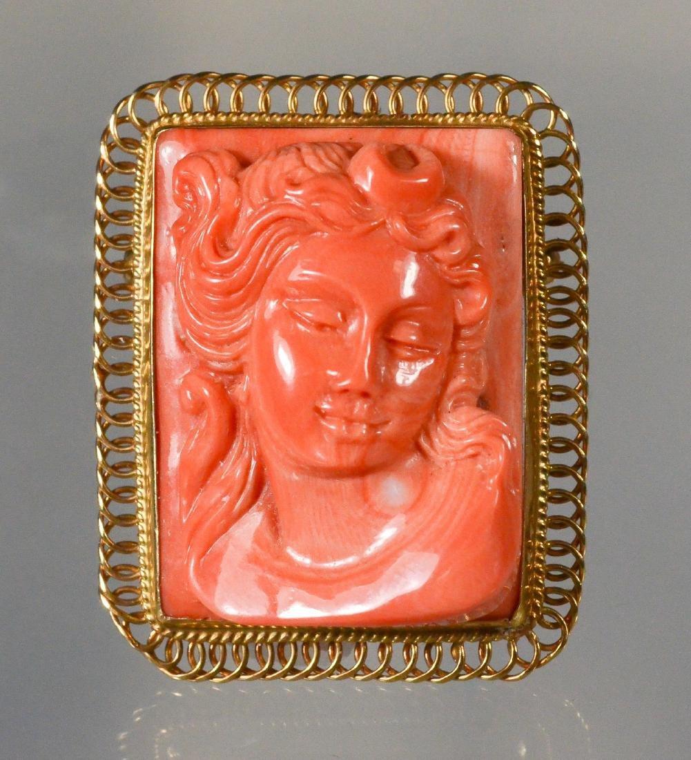14K YG carved coral rectangular portrait pin