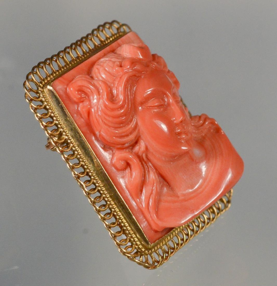 14K YG carved coral rectangular portrait pin - 2