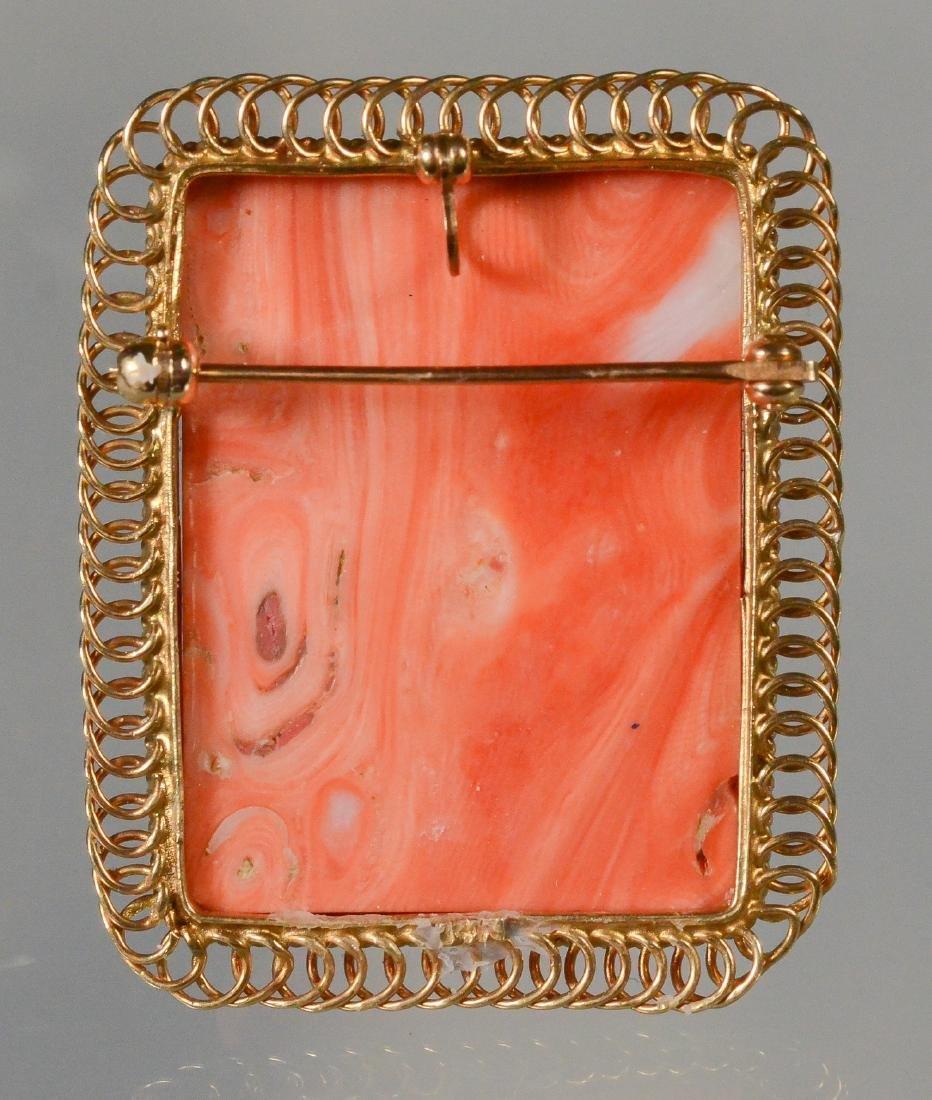 14K YG carved coral rectangular portrait pin - 3