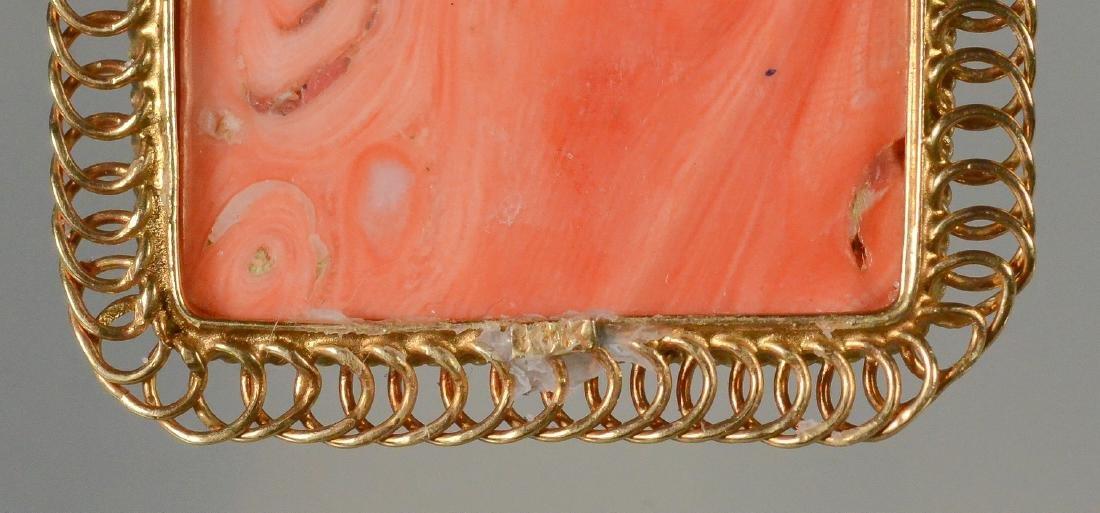 14K YG carved coral rectangular portrait pin - 4