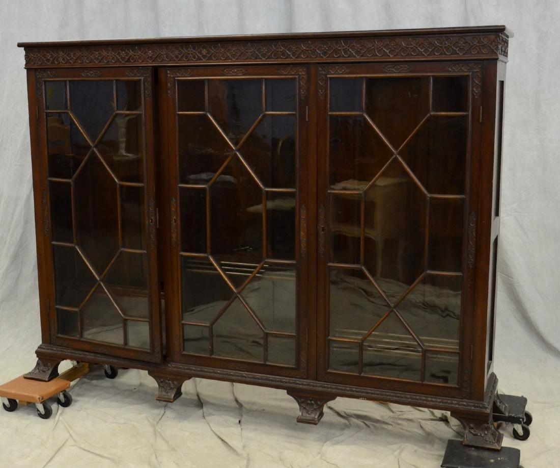 Mahogany Georgian Revival 3-door bookcase
