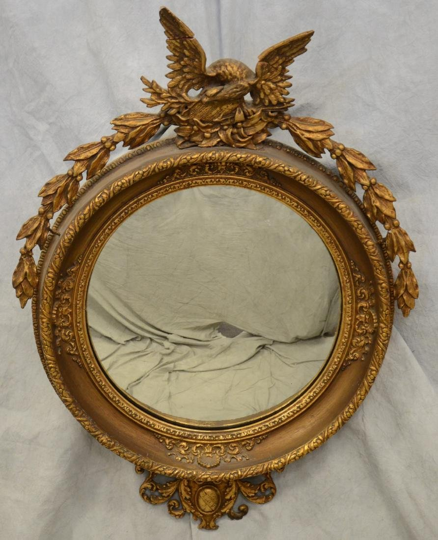19th C American Empire style convex bullseye mirror