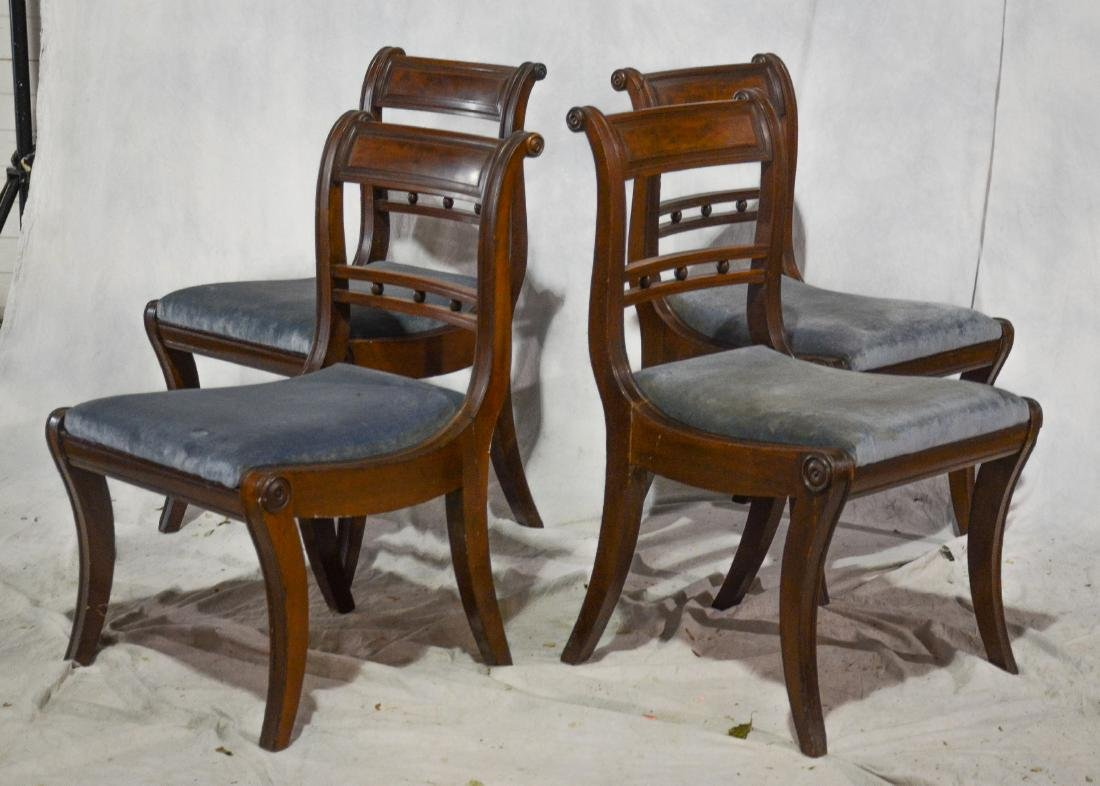 (4) mahogany American Federal dining room chairs