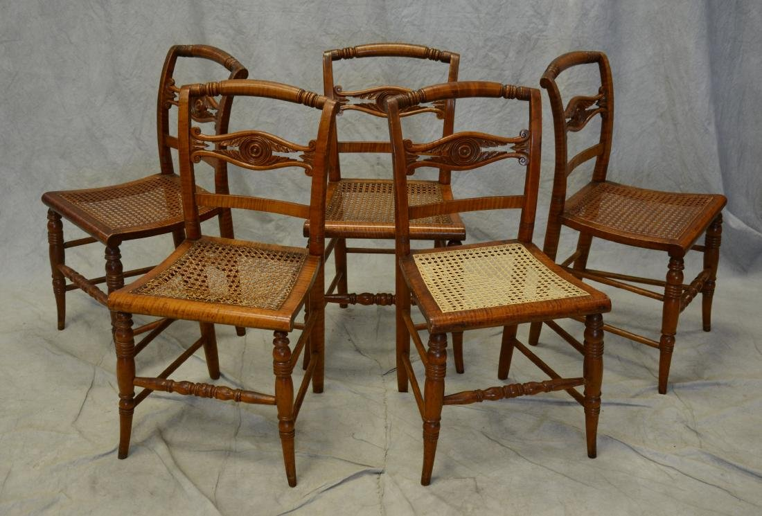 (5) Carved figured maple Federal side chairs
