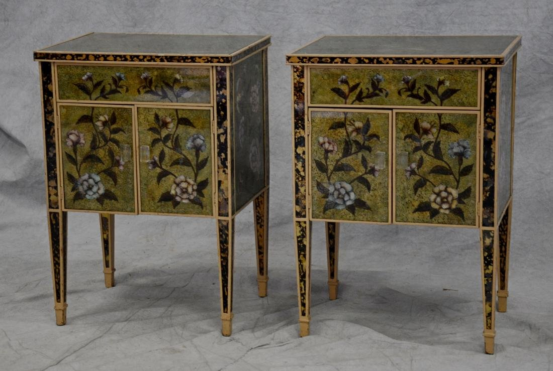 Pr reverse paint decorated glass covered commodes