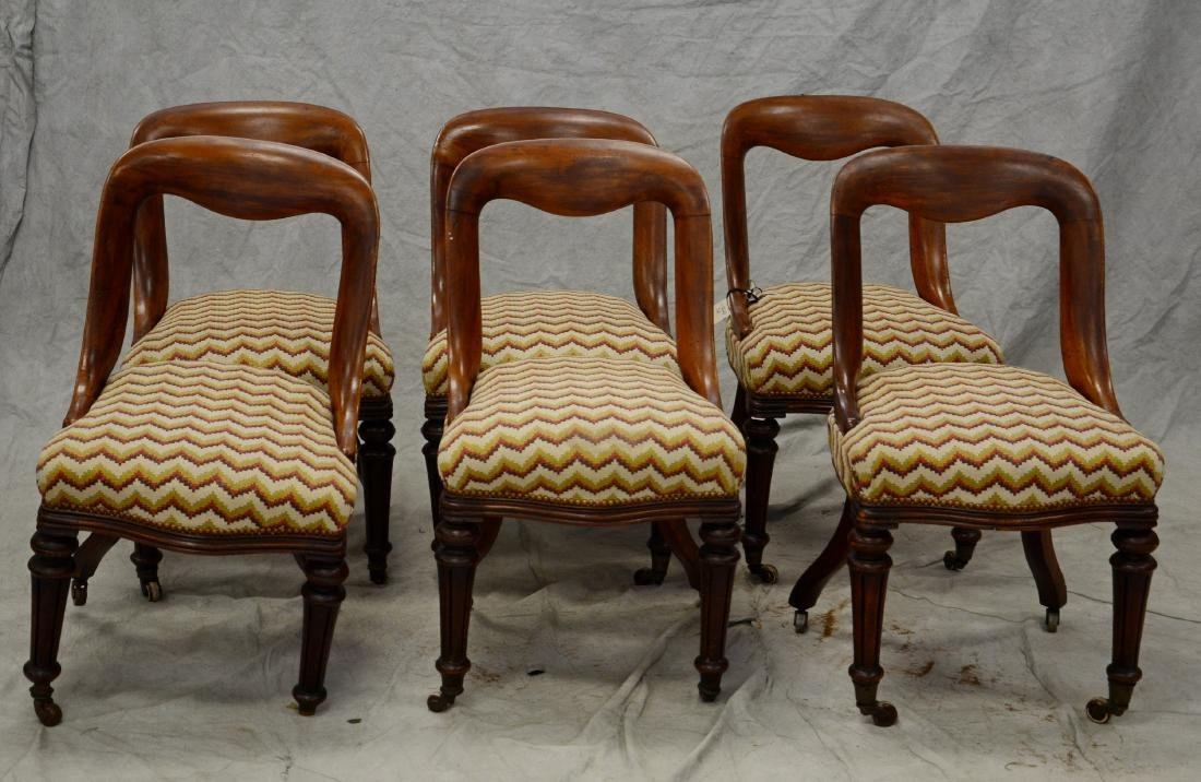 (6) Victorian mahogany upholstered dining chairs