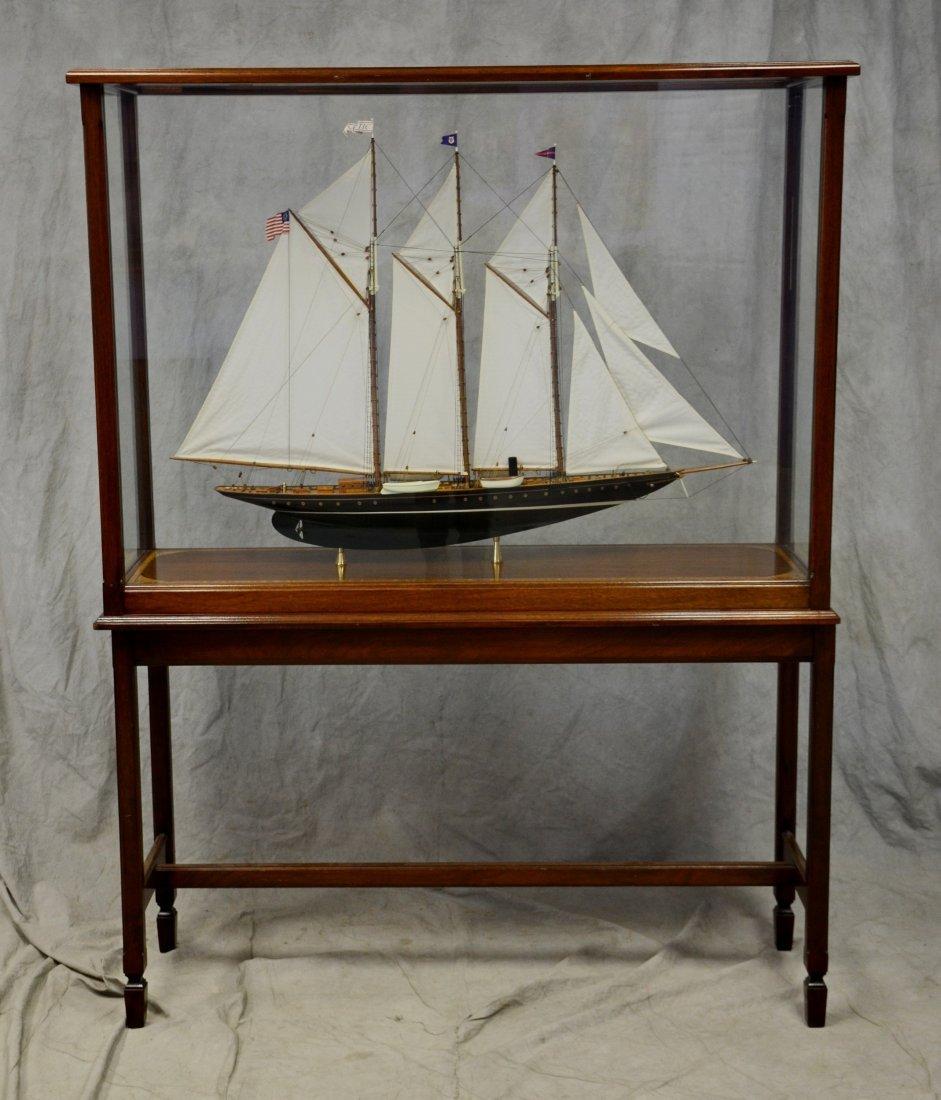 Clipper ship model, custom inlaid mahogany case