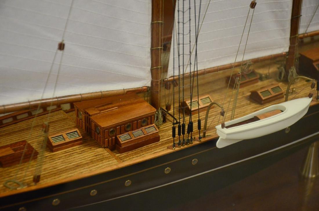 Clipper ship model, custom inlaid mahogany case - 2