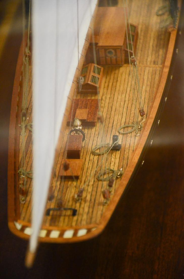 Clipper ship model, custom inlaid mahogany case - 6