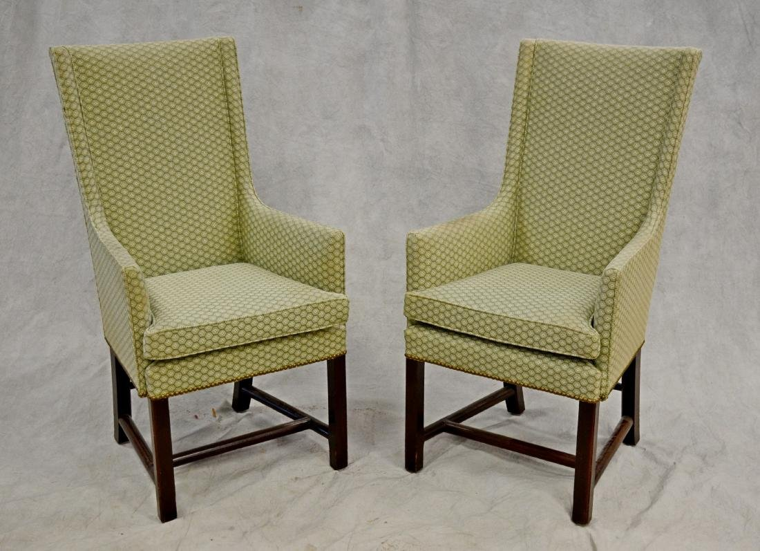 (2) Chippendale style high back fireside chairs