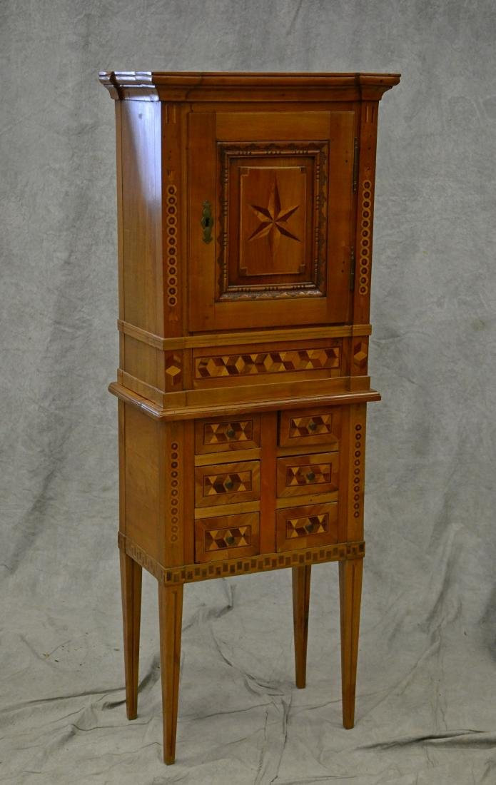 Geometric inlaid fruitwood cabinet on stand