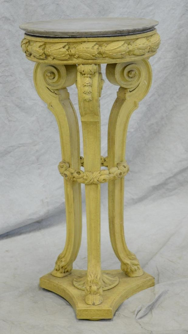 Victorian style cream painted carved MT pedestal - 2