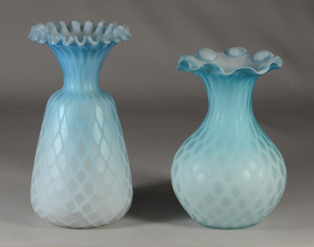 (2) pieces satin blue vases