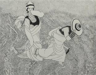 Niu Wen Chinese 19222009 woodcut print