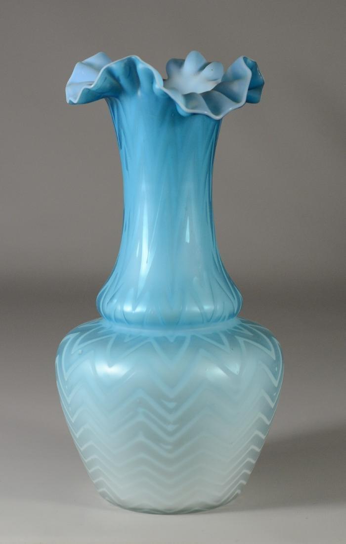 (2) herringbone blue satin vases - 2
