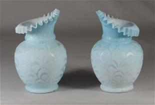 2 architectural satin glass vases