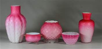 5 pcs  pink satin glass