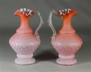 2 Pink satin glass herringbone pitchers