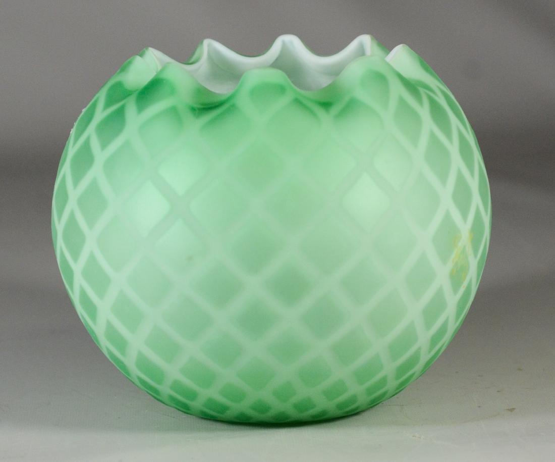 "Green satin glass rose bowl, 5 1/2""h"