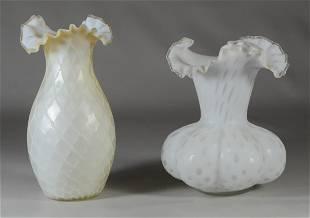 2 white satin glass vases various patterns