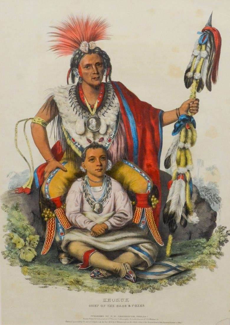 "McKenney & Hall color lithograph, ""Keokuk, Chief of"