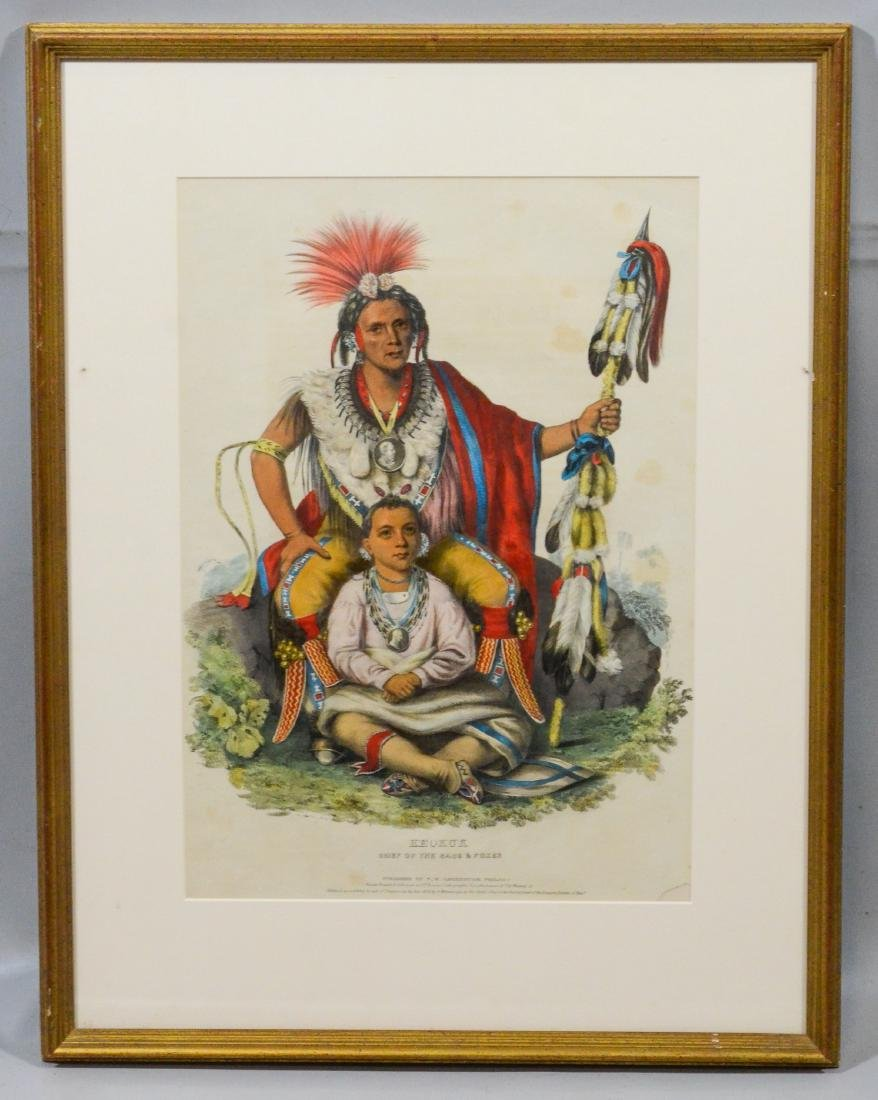 "McKenney & Hall color lithograph, ""Keokuk, Chief of - 2"