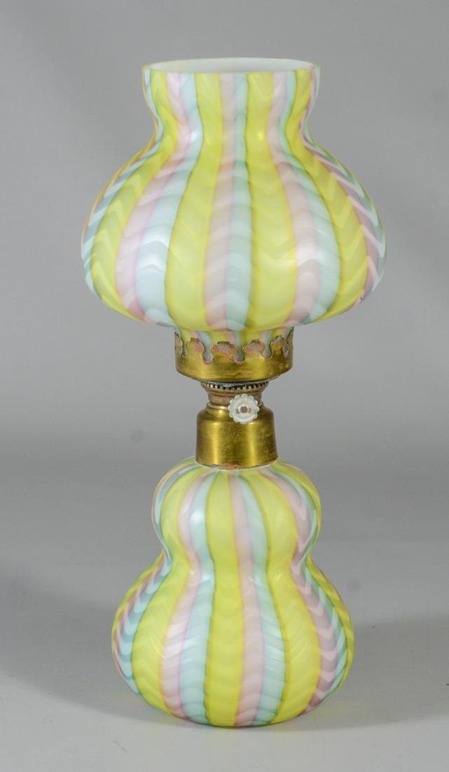 Rainbow herringbone cased satin glass miniature lamp