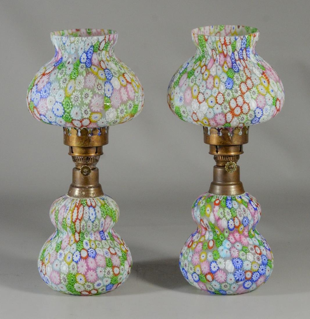 Pr millefiori satin glass miniature lamps