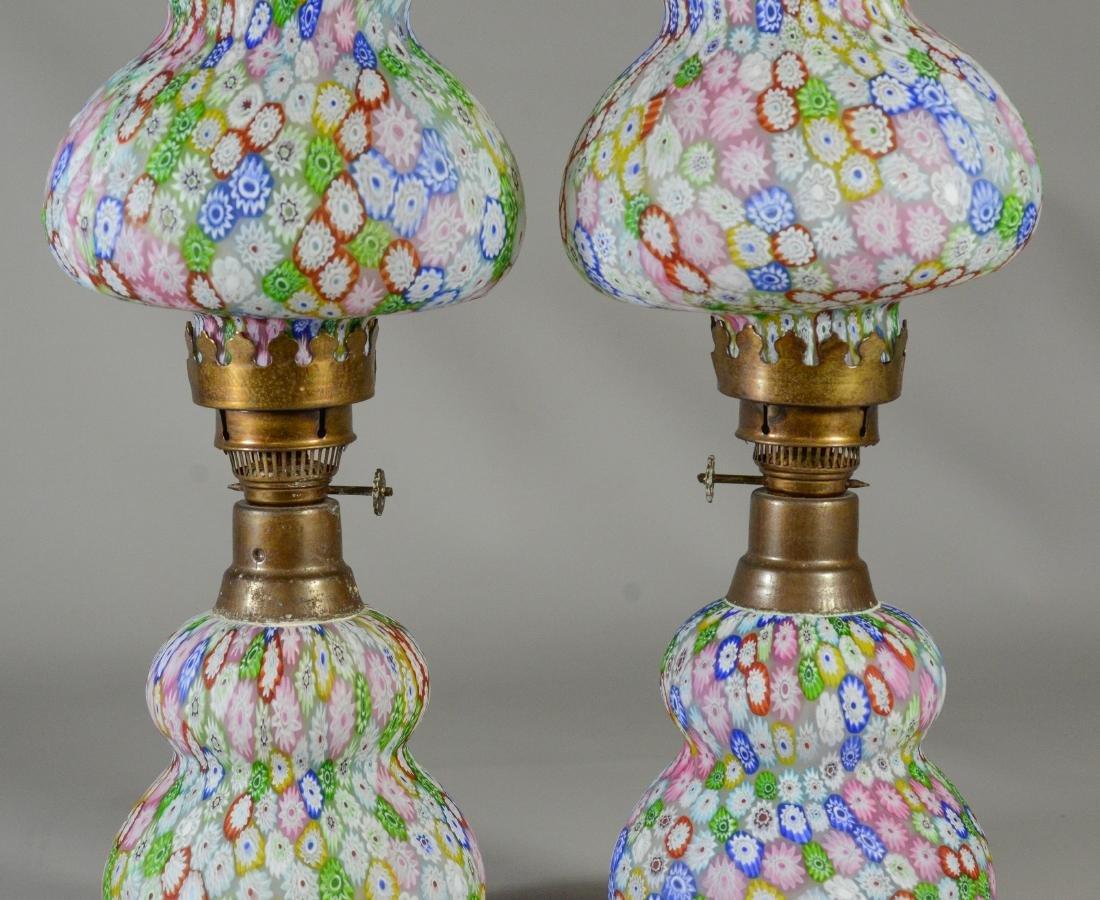 Pr millefiori satin glass miniature lamps - 2