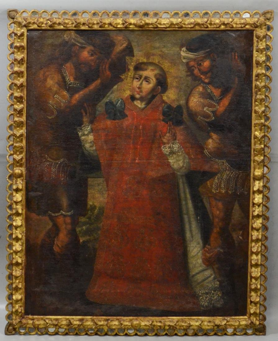 18th C, Continental, o/c, painting of a saint - 2